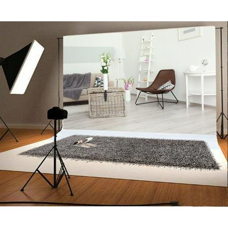 GreenDecor Polyster 7x5ft Living Room Backdrop Sofa Chiar Flowers Vase White Ladder Carpet Lamp Blurry Floor Interior Photography Background Kids Adults Photo Studio Props](Carpet Photo)
