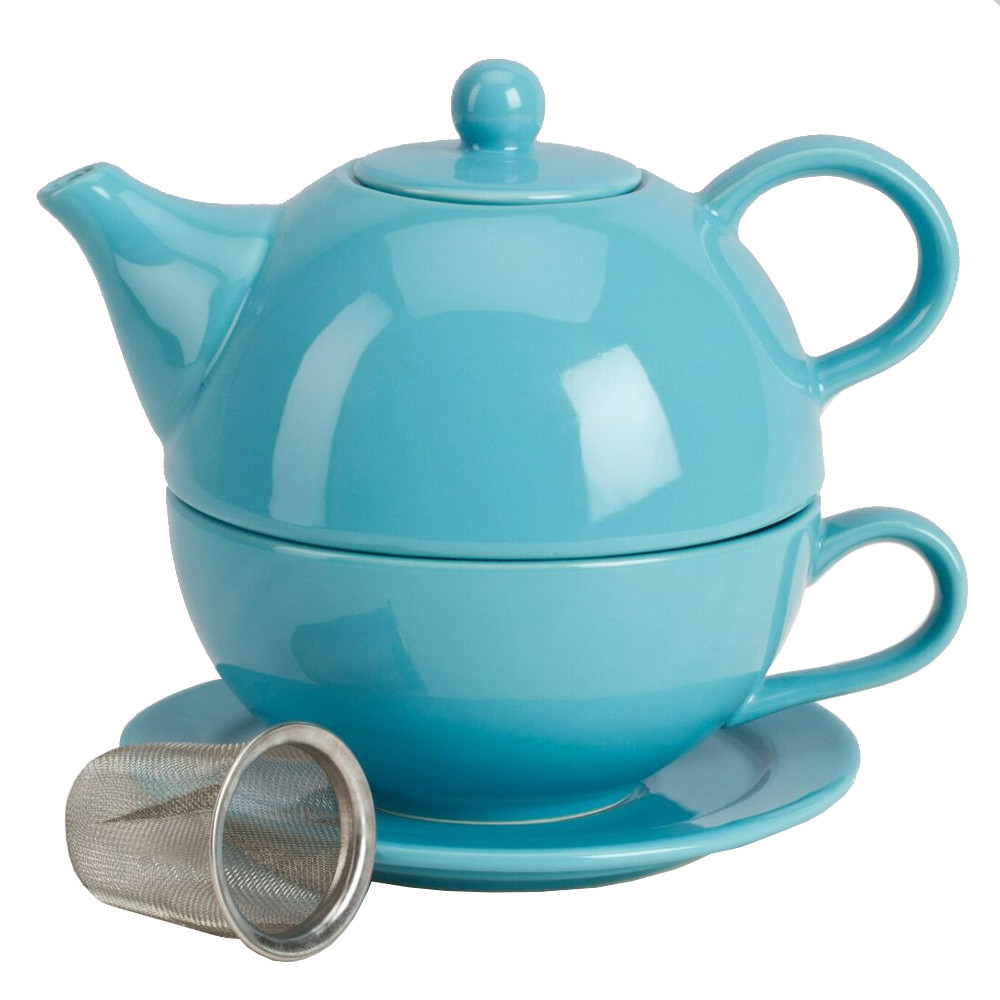 Omniware Turquoise Ceramic Tea for One with Infuser