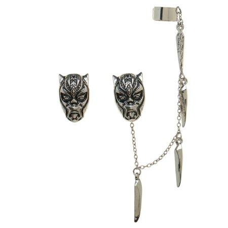 Earrings - Black Panther - Ear Ceremonial Mask Ear Cuff New Licensed eg760fbpm