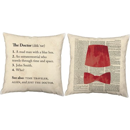 Set of 2 Definition of Doctor Throw Pillows 18x18 Square White Cotton Fez and Bow Tie Cushions, One pair of RoomCraft Just The Doctor Fez Bow.., By RoomCraft for $<!---->