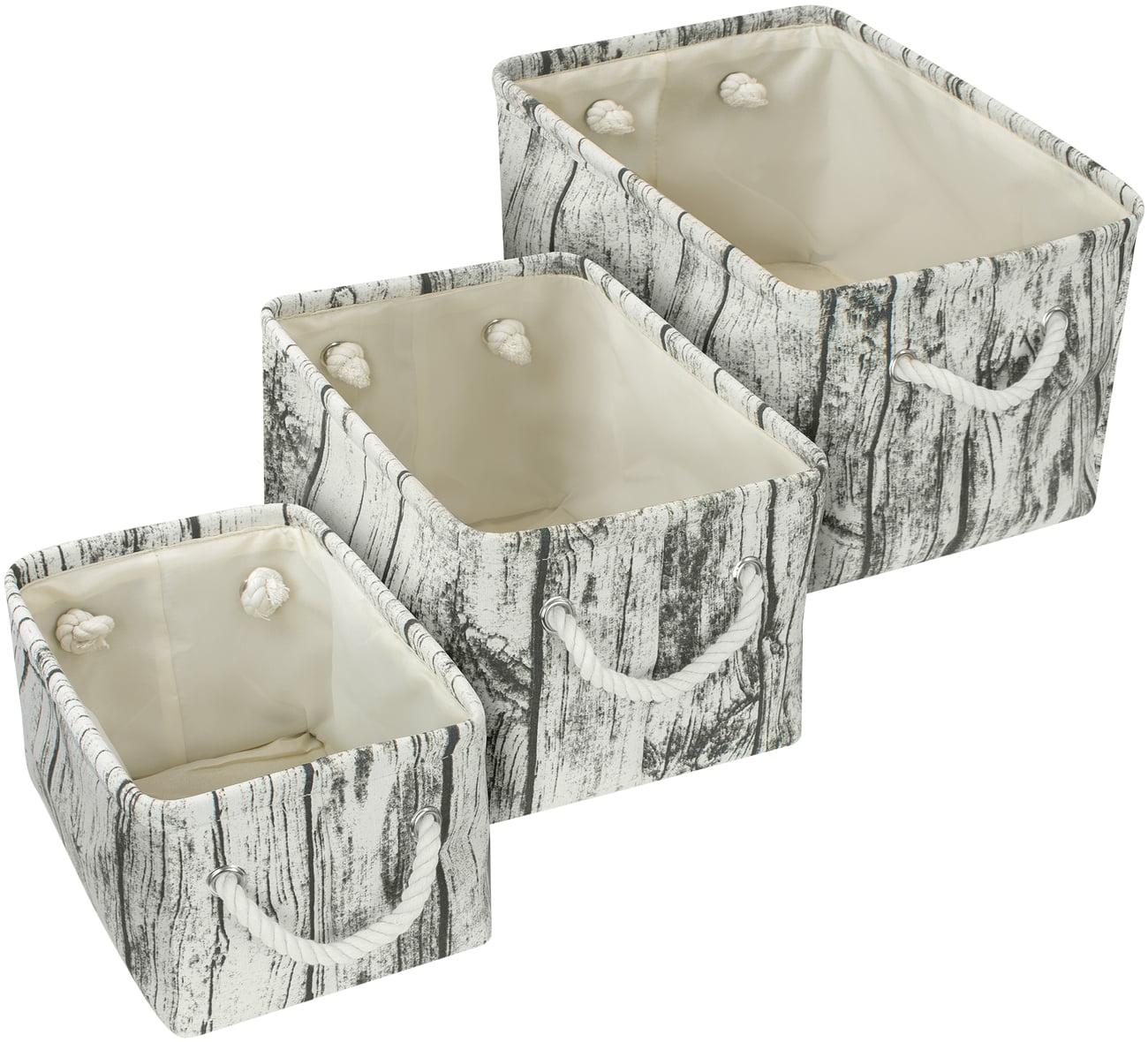 Large Storage Basket Rustic Tree Stump Print Rectangular Fabric Bin Box 3-Pack