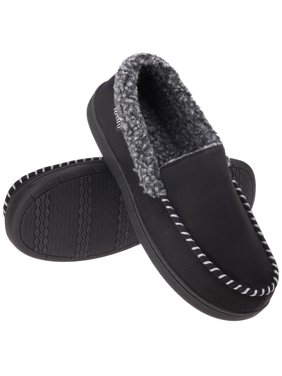 VONMAY Men's Moccasin Slippers Fuzzy House Shoes with Whipstitch Indoor/Outdoor
