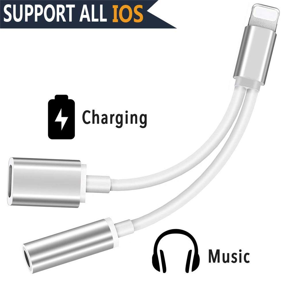 iPhone X Adapter & Splitter, 2 in 1 Aux Headphone Jack Audio & Charge Cable Adapter, Lightning Adapter Compatible with Phone XS/XS MAX/XR/X / 7/8 (Support iOS 11, iOS 12), I6086