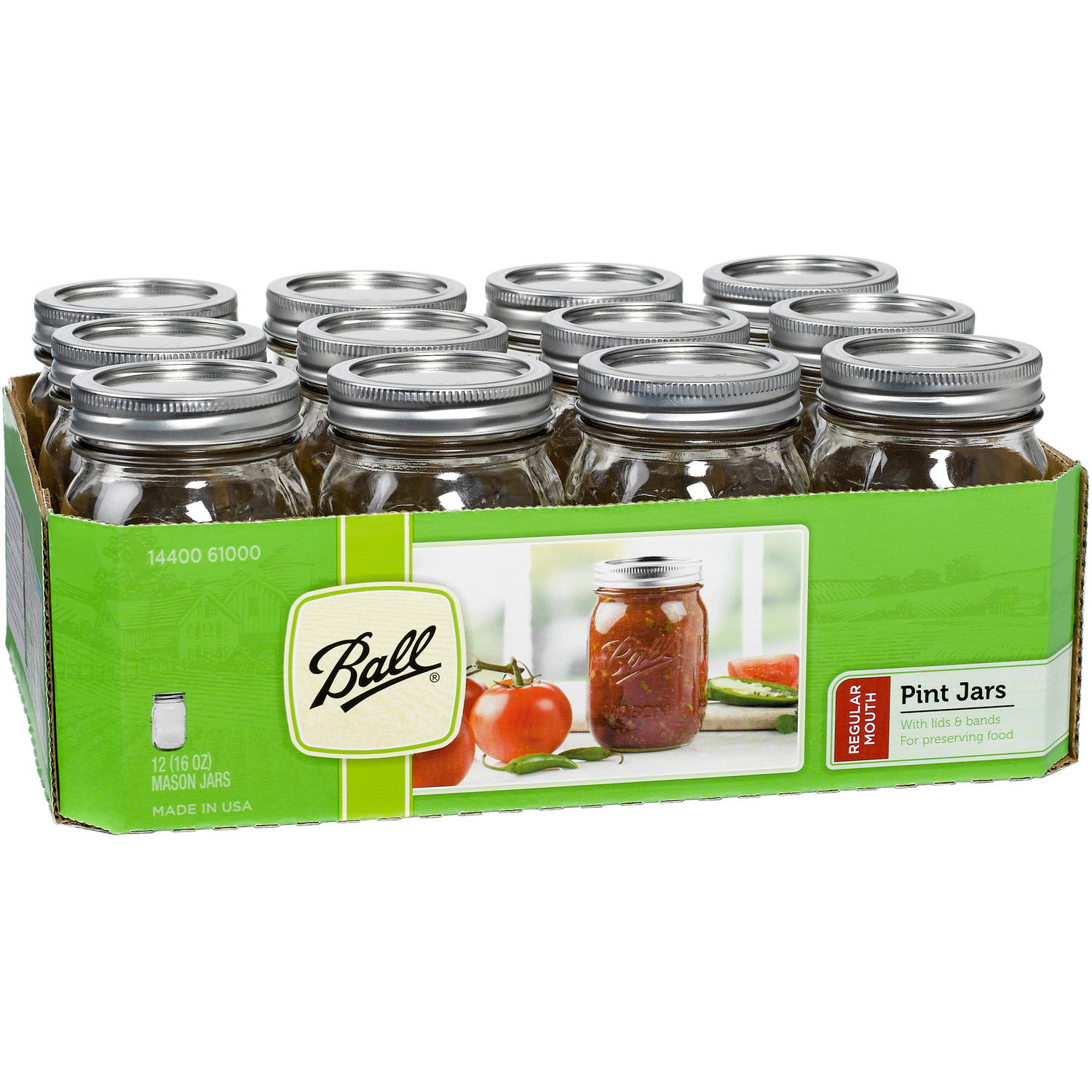Ball Canning Jar Regular Mouth with Lid, 12pk