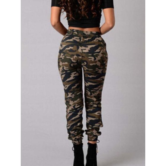 e73cd950cabab Womens High Waist Camo Skinny Slim Jeans Military Stretch Pencil Pants  Trousers - Walmart.com