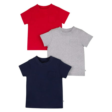 Patagonia Organic Tee (Little Star Organic Short Sleeve Pure Organic True Brights Shirts, Pocket Tee, 3 pack (Baby Girls & Toddler Girls, Baby Boys & Toddler Boys,)