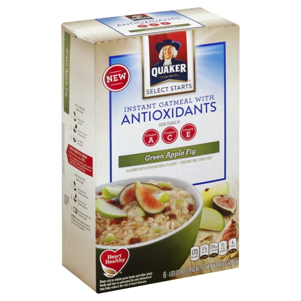 Quaker Instant Oatmeal With Antioxidants Green Apple Fig - 6 CT