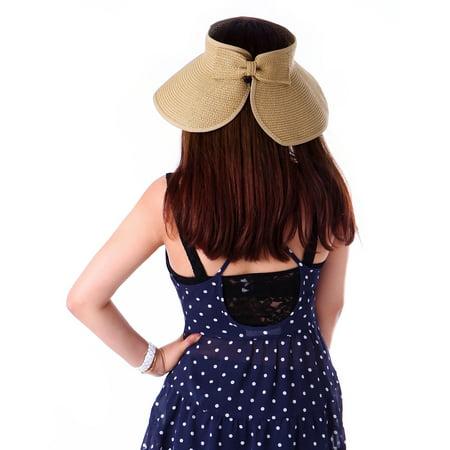 ff4d3a31e8edb HDE Women UPF 50+ Packable Crushable Roll Up Wide Brim Sun Visor Beach  Straw Hat ...