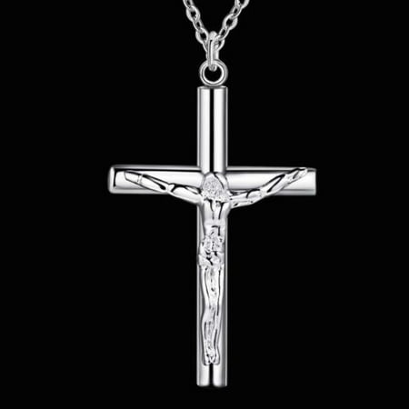 Italian Sterling Silver Jesus Cross Necklace With 18