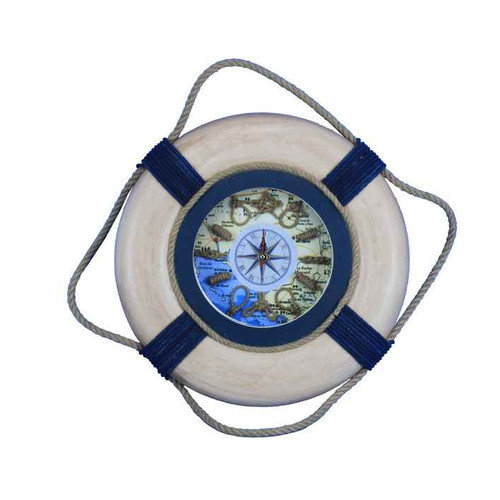 Handcrafted Nautical Decor Vintage Decorative Life Ring 15'' Clock