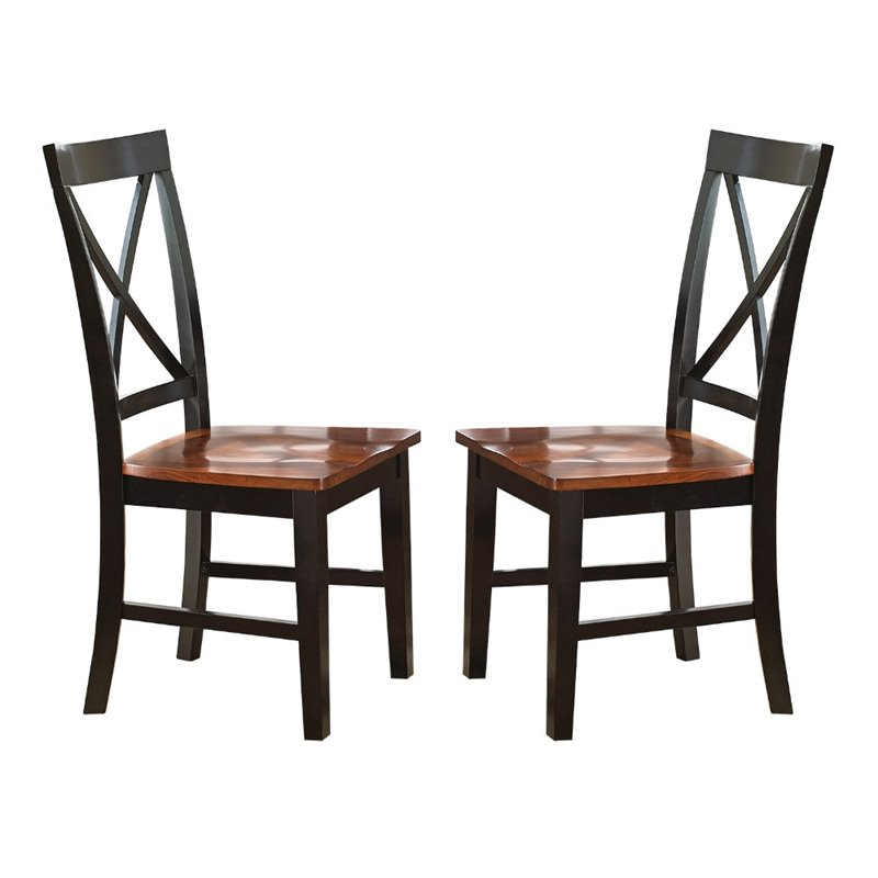 Steve Silver Kingston Side Chair in Oak & Black