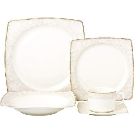 Royalty Porcelain Fancy Square Design 20-pc Dinnerware Set 'Pink Blossom', Premium Bone China Porcelain Pink Bone China