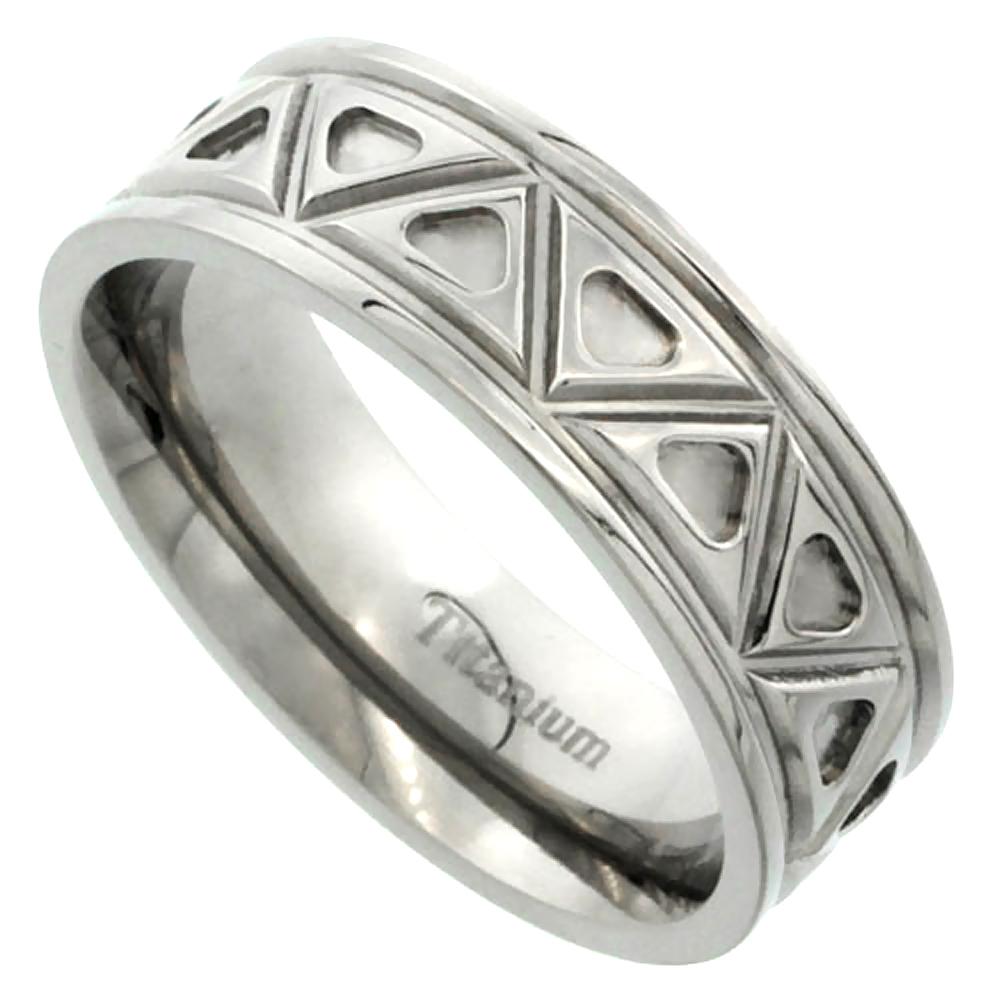 Titanium 7mm Wedding Band Aztec Pattern Ring Flat Polished Finish Comfort Fit, sizes 7 - 14