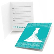Wedding Dress Teal - Fill In Bridal Shower Invitations (8 count)