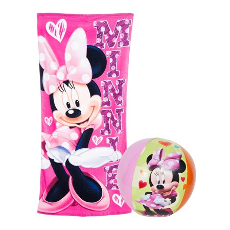 Minnie Mouse Pool (Girls Minnie Mouse Pink Pool Towel & Beach Ball 2Pc)