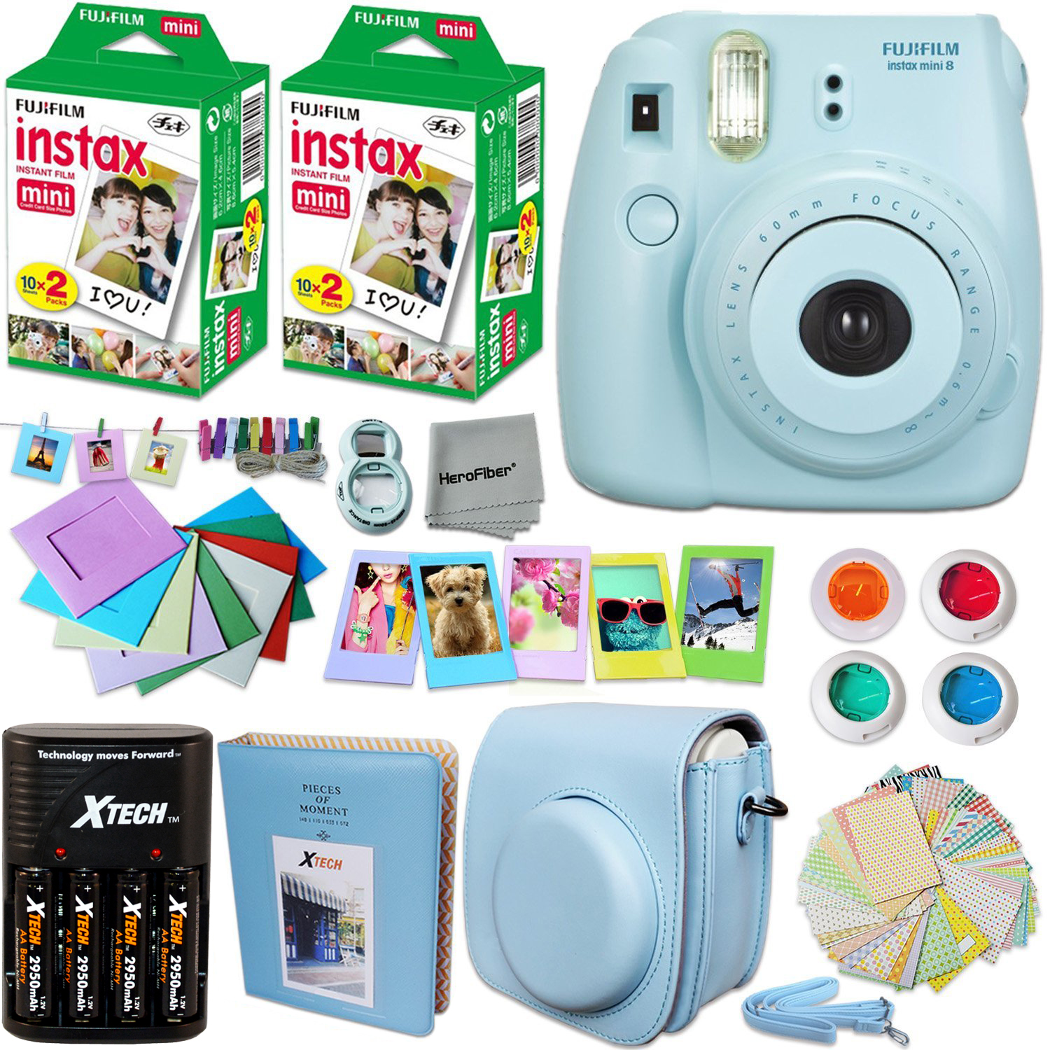 FujiFilm Instax Mini 8 Camera BLUE + Accessories KIT for Fujifilm Instax Mini 8 Camera includes: 40 Instax Film + Custom Case + 4 AA Rechargeable Batteries + Assorted Frames + Photo Album + MORE
