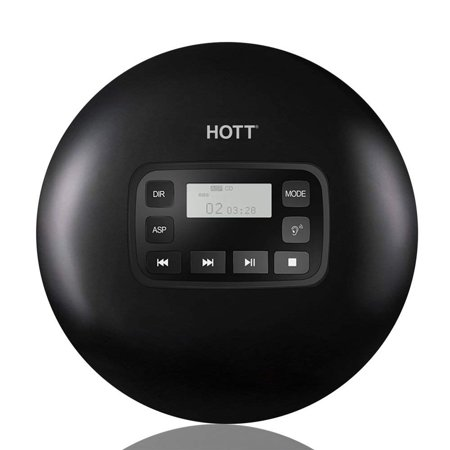 Portable CD Player, HOTT CD611 Personal Compact Disc Player LCD Display, Stereo Earbuds USB Cable, Electronic Skip Protection Anti-Shock