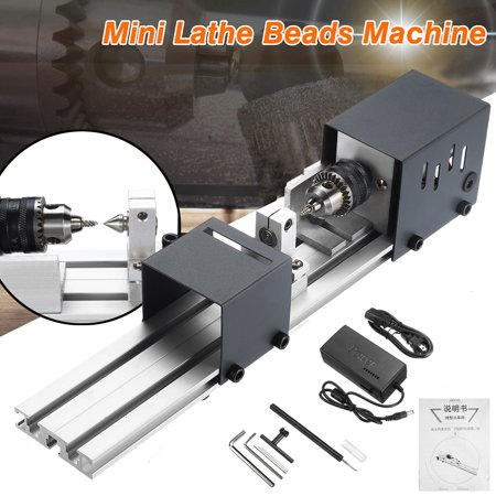 DC 24V 80W Desktop Mini Lathe Beads Machine Woodworking DIY Lathe Standard  Kit with Power Supply