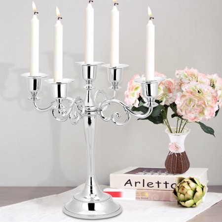 Metal Candle Holder 5-arms Candle Stand Vintage Candle Holder Wedding Event Candelabra Candle Stick(Silver) ()
