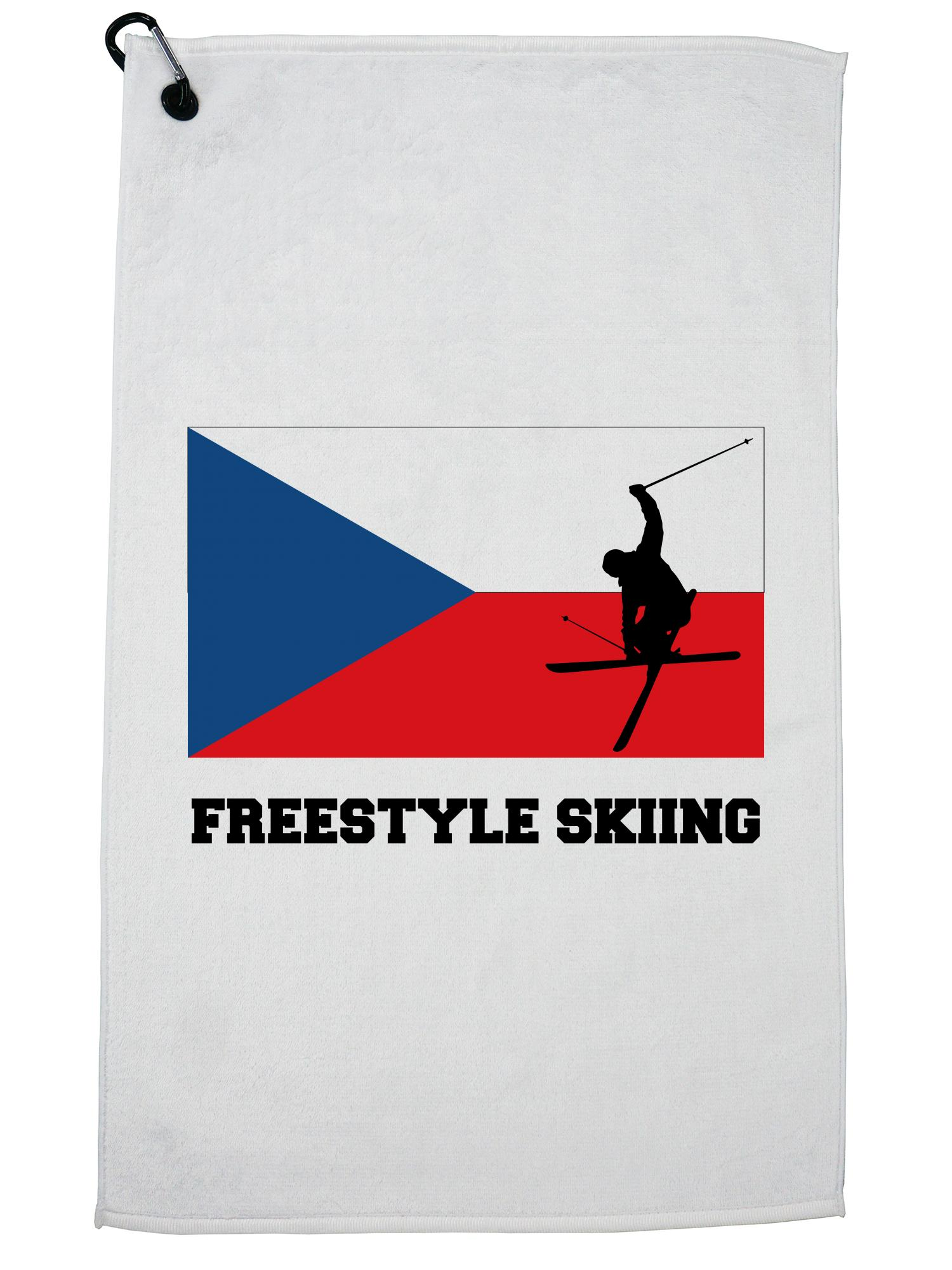 Czech Republic Olympic Freestyle Skiing Flag Silhouette Golf Towel with Carabiner Clip by Hollywood Thread
