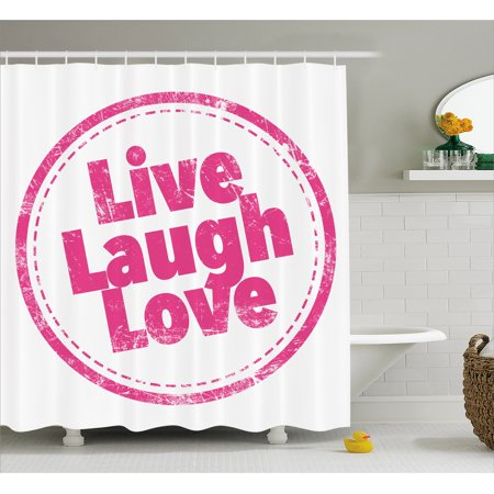 Live Laugh Love Shower Curtain Motivational Lifestyle Stamp Cute Grunge Retro Artwork Illustration Fabric