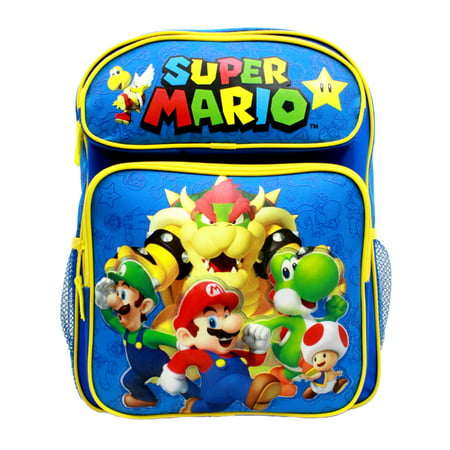 "Medium Backpack - Nintendo - Super Mario Group Blue 14"" School Bag New SD28259"