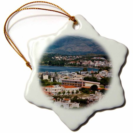 3Drose Greece  Epirus  Igoumenitsa  Port On The Ionian Sea  Elevated View  Snowflake Ornament  Porcelain  3 Inch