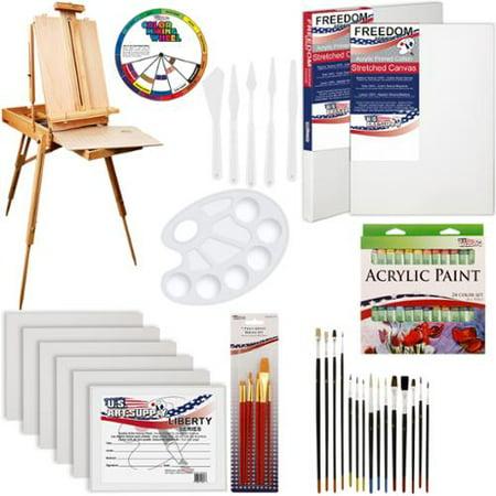 US Art Supply 63-Piece Custom Artist Acrylic Paint Kit w/ Coronado Sonoma Easel - Acrylic Paint Kit