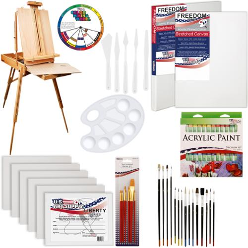 US Art Supply 63-Piece Custom Artist Acrylic Paint Kit w/ Coronado Sonoma Easel