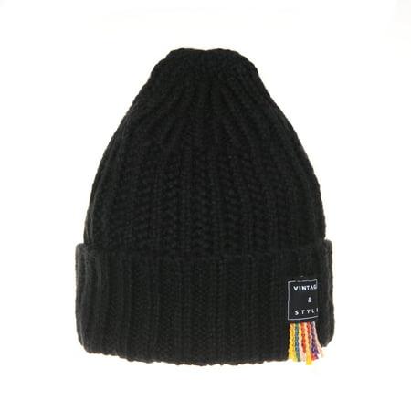 WITHMOONS Ribbed Knit Beanie Hat Vintage Rainbow Thread Patch CR5478  (Black) - Walmart.com 9da8406c745