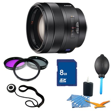 Sony SAL85F14Z Carl Zeiss 85mm f1.4 Telephoto Lens 8GB Cleaning Bundle