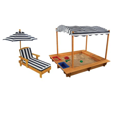 Kidkraft Wooden Outdoor Sandbox With Canopy And Outdoor Chaise With