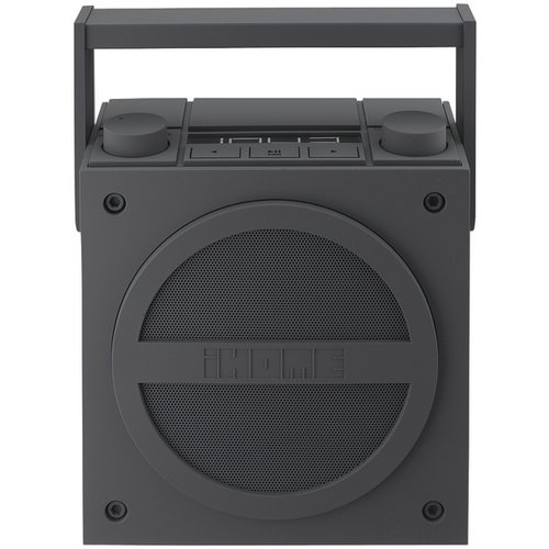 iHome iBT4GC Bluetooth Rechargeable Boombox with FM Radio (Gray) by iHome