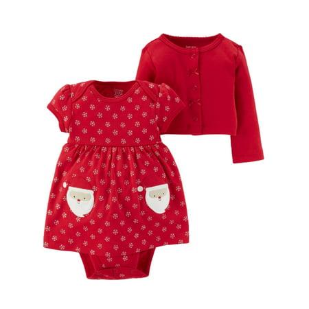 Carters Infant Girls Red Santa Claus Bodysuit Dress & Cardigan Sweater (Carters Santa)