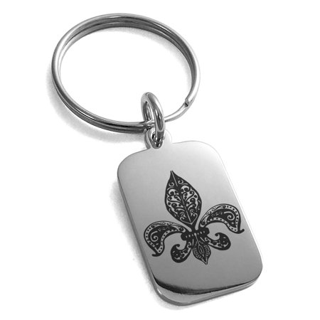 Stainless Steel Paisley Fleur De Lis Engraved Small Rectangle Dog Tag Charm Keychain Keyring