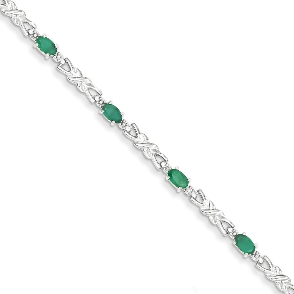 14K White Gold w/ Diamond and Emerald Gemstone Bracelet. Gem Wt- 2.34ct