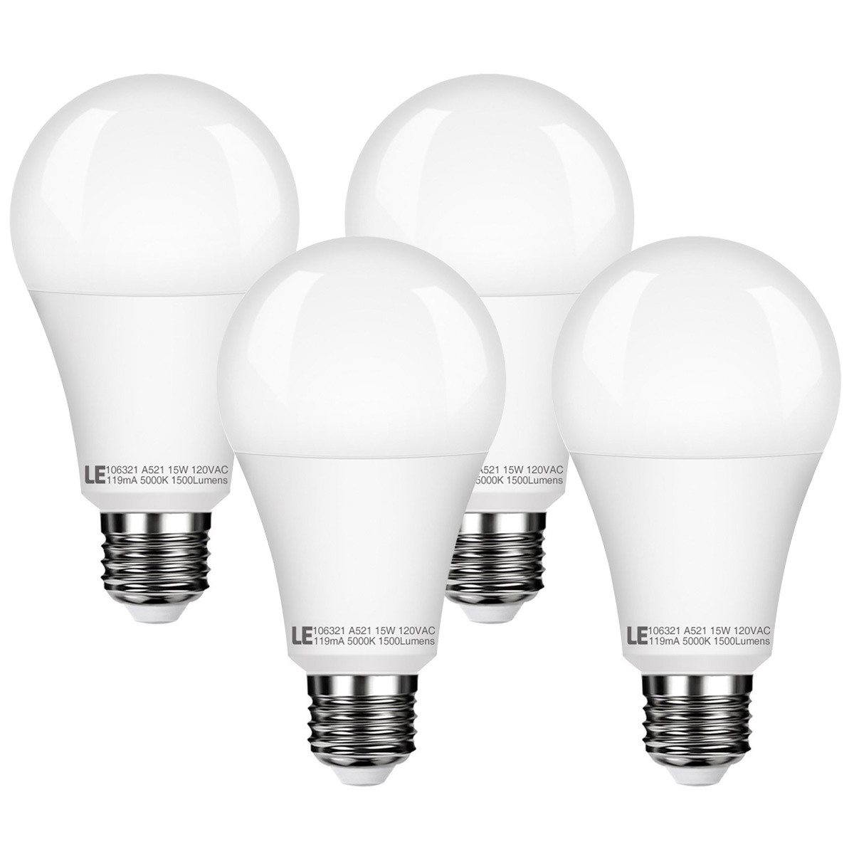 Lighting EVER 5W A21 E26 Warm White 2700K LED Bulbs, 1500lm Dimmable LED Light Bulbs, 100W Incandescent Equivalent 2 Pack