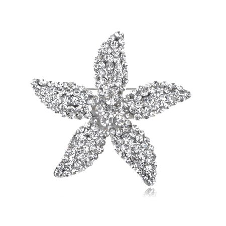Star Lily Clear Crystal Rhinestone Fashion Flower Starfish Costume Pin Brooch ()