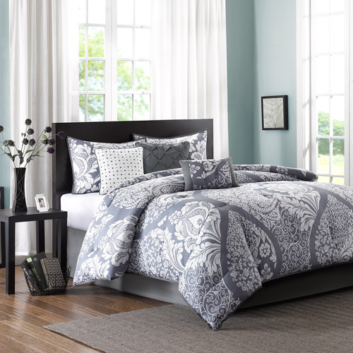 Home Essence Adela 7-Piece Bedding Comforter Set, Gray