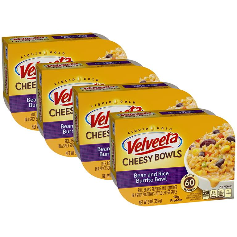 (4 Pack) Kraft Velveeta Cheesy Bowls Bean & Rice Burrito Bowl, 9 oz Tray