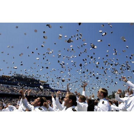 May 25 2007 - Graduates of the US Naval Academy throw their hats into the air at the end of the graduation and commissioning ceremony in Annapolis Maryland Poster Print (Graduate Hat)