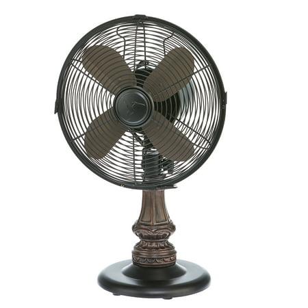 DecoBREEZE Oscillating Table Fan 3-Speed Air Circulator Fan, 10-Inch, Harrison