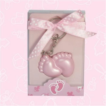 Baby Shower Pink Baby Feet Keychain