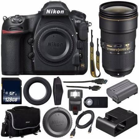 Nikon D850 DSLR Camera+Nikon AF-S NIKKOR 24-70mm f 2.8E ED VR Lens+128GB MC +External Flash+Mini HDMI... by Nikon