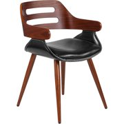 Walnut Bentwood Side Chair with Cross Stitched Black LeatherSoft Seat