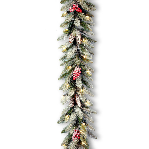 "National Tree Pre-Lit 9' x 10"" Snowy Dunhill Garland with 50 Clear Lights"
