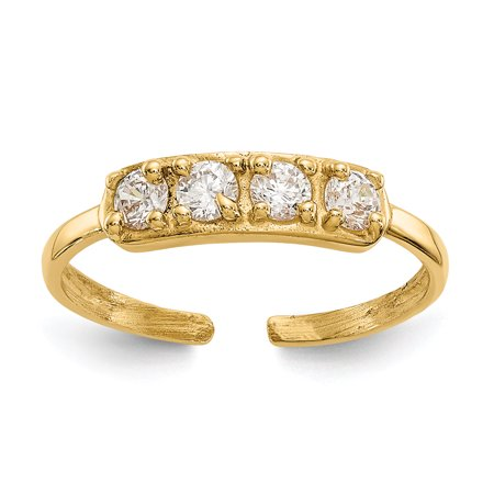 Primal Gold 14 Karat Yellow Gold Cubic Zirconia Toe Ring 14k Love Toe Ring