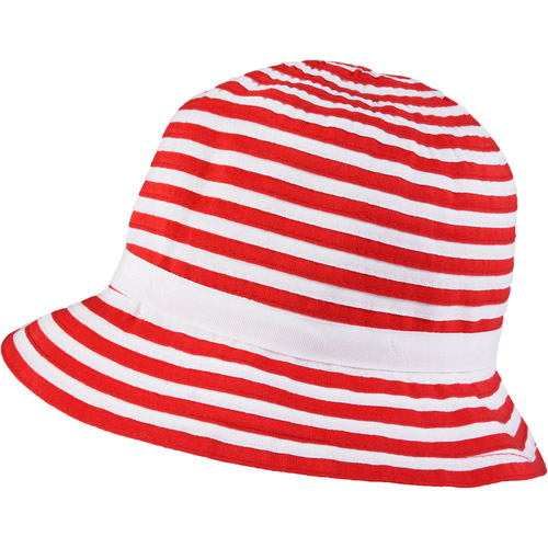 Brinley Co Womens Ribbon Accent Striped Bucket Hat