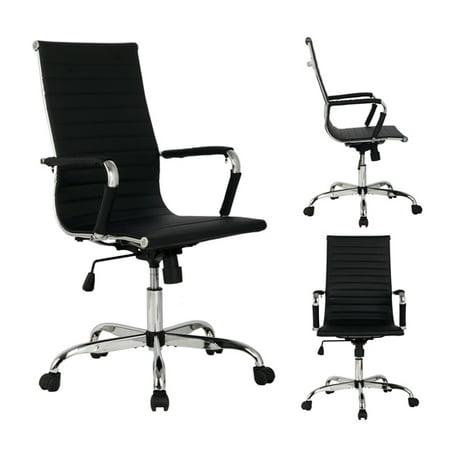 Black Modern High Back PU Leather Executive Office Chair Ergonomic Computer Desk ()