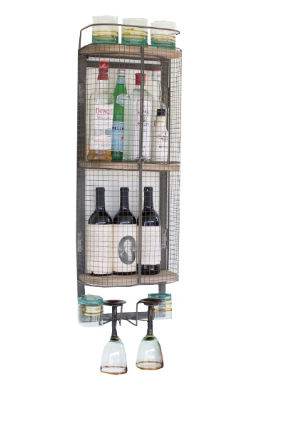 Industrial Loft Liquor Wall Cabinet With Wire Doors, Shelves U0026 Wine Glass  Racks